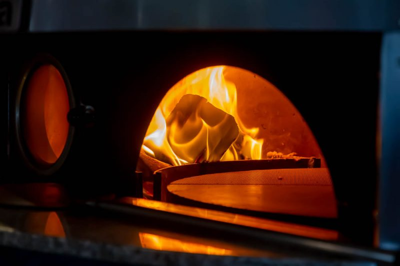 Burning fire in the pizza oven